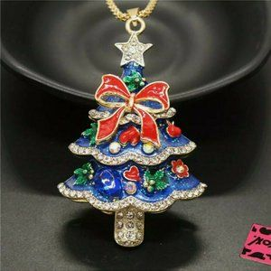 Betsey Johnson Decorated Christmas Tree Necklace